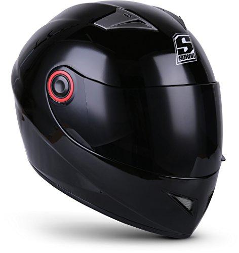 SOXON ST-666 Shiny Night · Helmet Scooter Casco Integrale Moto Urbano Cruiser Urban Sport · ECE certificato · compresi parasole · compresi Sacchetto portacasco · Nero · S (55-56cm)