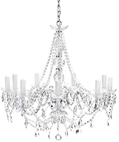 Hängeleuchte Gioiello Kristall Clear 9er, moderner Kronleuchter im Barockdesign, grosse, gläserne...