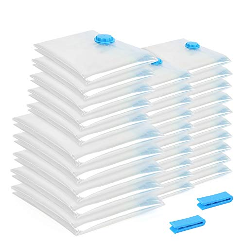 Flyelf [30 Pcs] Vakuumbeutel Vacuum Storage Space Saver Bags for Clothes Duvets Pillows Travel Jumbo 3 Größe -
