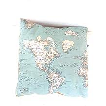 Cojin decoración mapa mundo, mapamundi 45 x 45 cm Un regalo original viajeros