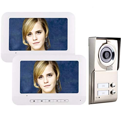 AXNYLHY 7inch LCD Video Tür Telefon Intercom System IR-Cut HD 1000TVL Kamera Türklingel Kamera mit 2 Taste 2 Monitor wasserdicht, mit 25 Klingeltöne (Tür Kamera Intercom-system)