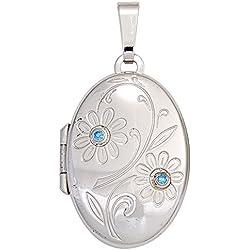 Medaillon oval Blumen 925 Sterling Silber 2 Zirkonia blau Anhänger zum Öffnen