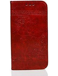 """Coque Samsung Galaxy S6, étui Samsung Galaxy S6, Samsung Galaxy S6 Coque, Rétro Fine Folio Wallet/Portefeuille en Bonne Qualité Cuir Housse """"G920F"""" (5.1 Pouce) élégant Bookstyle de Gaufrage Fleur Motif + Stand Support + Intérieur en Silicone étui de Protection - [Rouge]"""