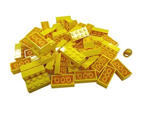 LEGO CITY - 50 Steine in GELB mit 2x4 Noppen plus 1 seltener Helm in gold