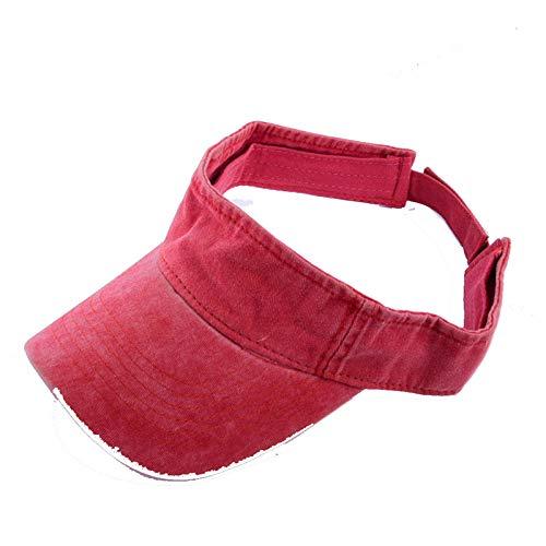 POIUIU Visier Gewaschene Baumwolle Leere Top Visier Laufmütze Unisex Tennis Golf Outdoor Caps Frauen Sonnenschutz Hüte Mann Hüte Rot (Rot Neue ära Hut)