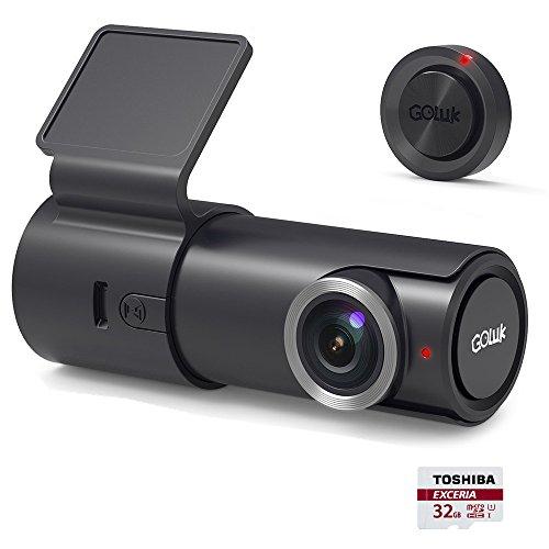 Goluk T2 Telecamera per Auto, 1080P HD Wi-Fi Videocamera Auto Registratore Dash Cam Grandangolare di 152° G-Sensore Visione Notturna Rilevamento Movimento, con Carta di 32GB