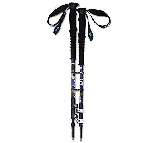 Onezi Oxidation Behandlung Paint Luftfahrt Aluminium Trekking Pole Trekkingstock Gehstock Alpenstocks Outer Locking Plus Samt Wrist Strap Anti-Schock-System Telescopic Poles for Trekking und Wanderung purple£¨a pair£©