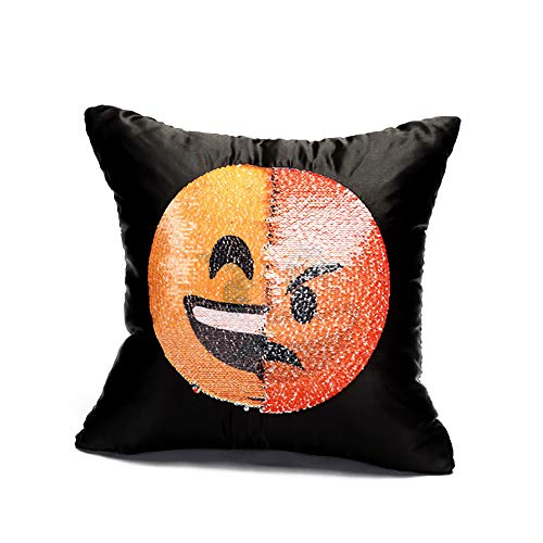 uin Kissen- Emoticons Beidseitig Wurfkissen-Platz mit Reißverschluss Shell Dekorative Kissen für Sofa DIY steuern Dekoration (Glück + Wut) ()