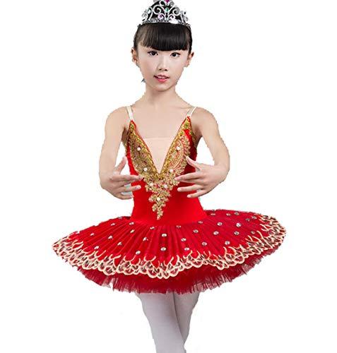 dchen Gymnastik-Ballett Dress Kids Leotard Tutu Rock Tanz Ballerina Kostüm,Red,170CM ()