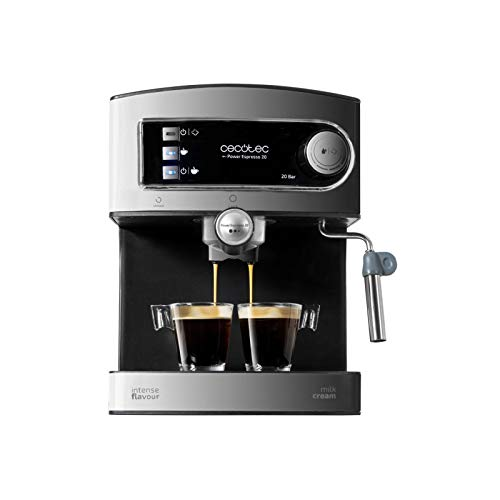 Cecotec Power Espresso 20 Cafetera Presión 20 Bares, Depósito de 1,5L, Brazo Doble Salida, Vaporizador, Superficie Calientatazas, Acabados en Acero Inoxidable, 850W, Negro/Plata