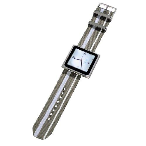 Hama Nylon Uhrenarmband für Apple iPod nano 6G grau/weiß - Weiß Uhrenarmbänder