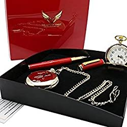 Signed Elvis Presley Gold Pocket Watch Full Hunter AND Rollerball autographed pen Presentation Case