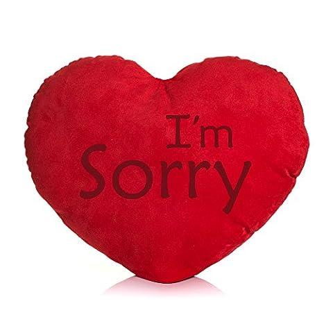 Shirt & Stuff / Herzkissen / Plüschkissen Herzform / verschiedene Sprüche auswählbar / Dein Statement / Deko / Kissen / Geburtstag / Valentinstag / Muttertag / Geschenk / I´m Sorry