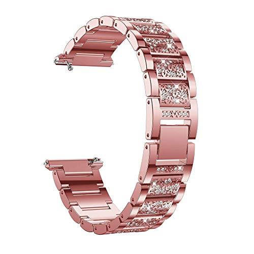 Battnot für Fitbit Versa Lite Uhrenarmbänder Edelstahl-Diamant Bracelet Uhrenarmband Handschlaufe Handgelenksriemen für Damen Herren Einstellbar Ersatzarmband Adjustable Replacement Wriststraps