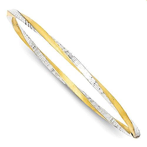 14k e Rodio 3 millimetri Satin diamante taglio Twist Slip-on Bangle