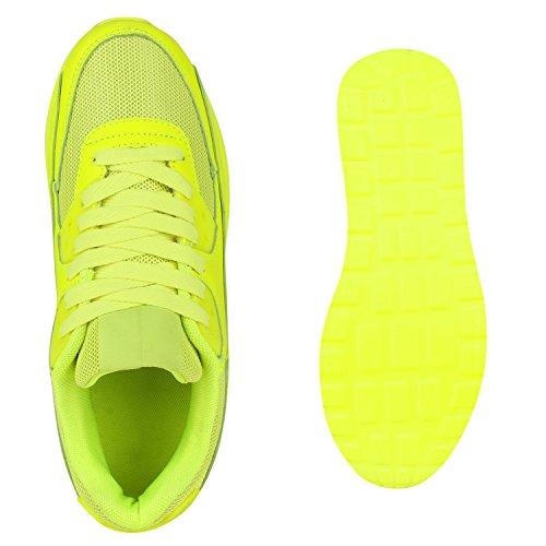 Damen Sportschuhe Laufschuhe Profilsohle Neon Schnürer Runners Neongelb