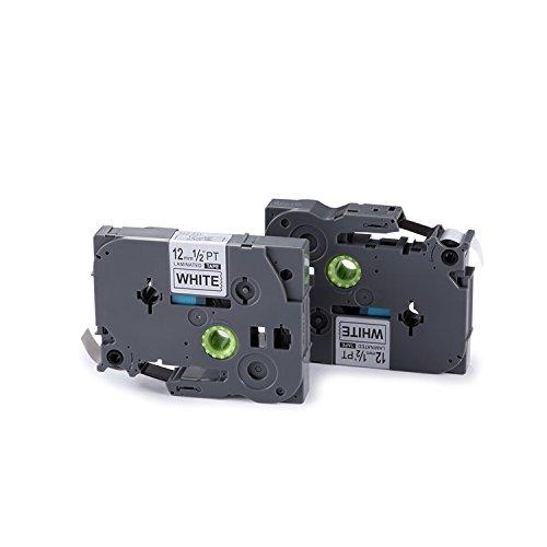 2er Kompatibel mit Brother TZe-231 TZ-231 Schriftband Kassette 12mm X 8m Etikettenband Schwarz auf Weiß für P-Tocuh