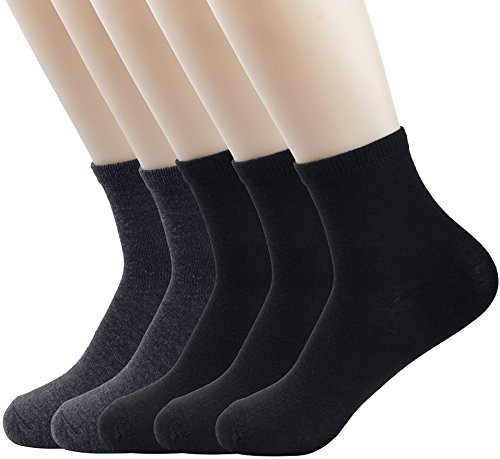 5 Paar Sport Socken,Anvey Unisex Kurze Crew Socken Lightweight Quarter, 3 Schwarz / 2 Grau, Gr. 39/42 (Lightweight Baumwolle Sport-socken)