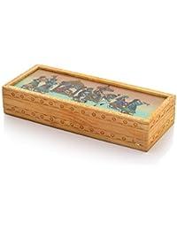 Vivan Creation Carved Gemstone Painted Wooden Jewellery Box