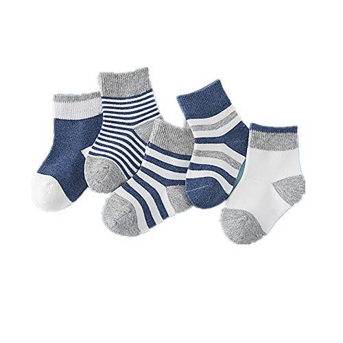 Morbuy Kindersocken, 5 Paar Warme Jungen Mädchen Jugend 100% Baumwolle Bequem Ohne Drückende Naht Baumwollsocken (M (Fuß lang 11-13cm), Dunkelblau)