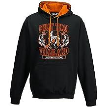 Sudadera capucha bicolor hombre Muay Thai Fight Academy Sport Boxeo Tailandés Clinch, Jet Black-Orange Crush