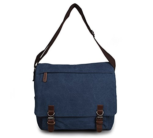 YAAGLE Herren Freizeit Kuriertasche Canvas Schultertasche Reisetasche Umhängetasche Hüfttasche-schwarz blau