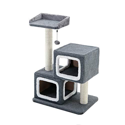 Zhou Double Nest Cat Klettergerüst, Kleine Sisalsäule Sprungplattform Kratzbaum Haushaltsspielzeug Katzenkratzbrett yan (Color : Gray)