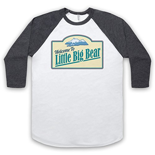 Tin Star Little Big Bear 3/4 Hulse Retro Baseball T-Shirt Weis & Dunkelgrau