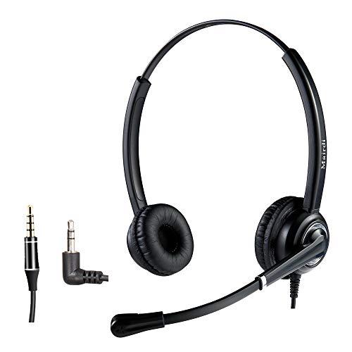 Telefon Headset mit Geräuschunterdrückung, 2,5 mm, für Jabra Cisco Polycom Panasonic Zultys Gigaset Plus extra 3,5 mm Anschluss für iPhone, Samsung, HTC, BlackBerry, die meisten Android (Wireless Voip Jack Phone)