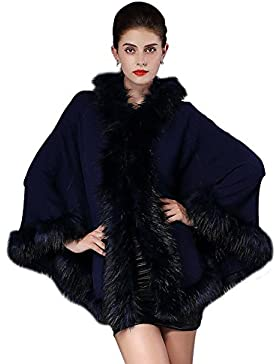 Nueva imitación suelta cuello de mapache con capucha suéter rebeca chal capa capa femenina
