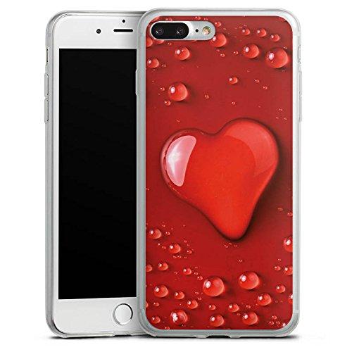 Apple iPhone 8 Slim Case Silikon Hülle Schutzhülle Liebe Wasser Tropfen Herz Muster Silikon Slim Case transparent
