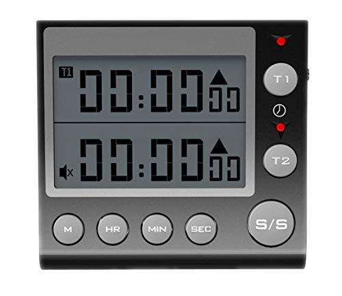 Jayron KT002 Temporizador de 2 canales con reloj despertador temporizador de cocina despertador digital...