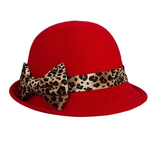Surker Femmes Laine Leopard Bow Godet Pots Hat CL02530 Gros rouge
