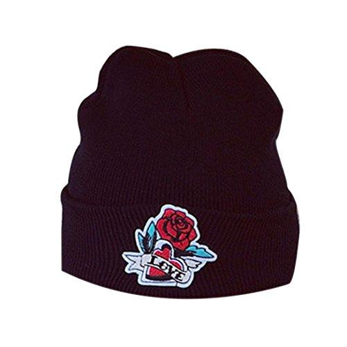 Winter Häkeln Ski Hut,FORH Mode Warm Elegant Rose Stickerei Dekorationen Häkeln Ski Hut Elastic Geflochten Kappe (B)