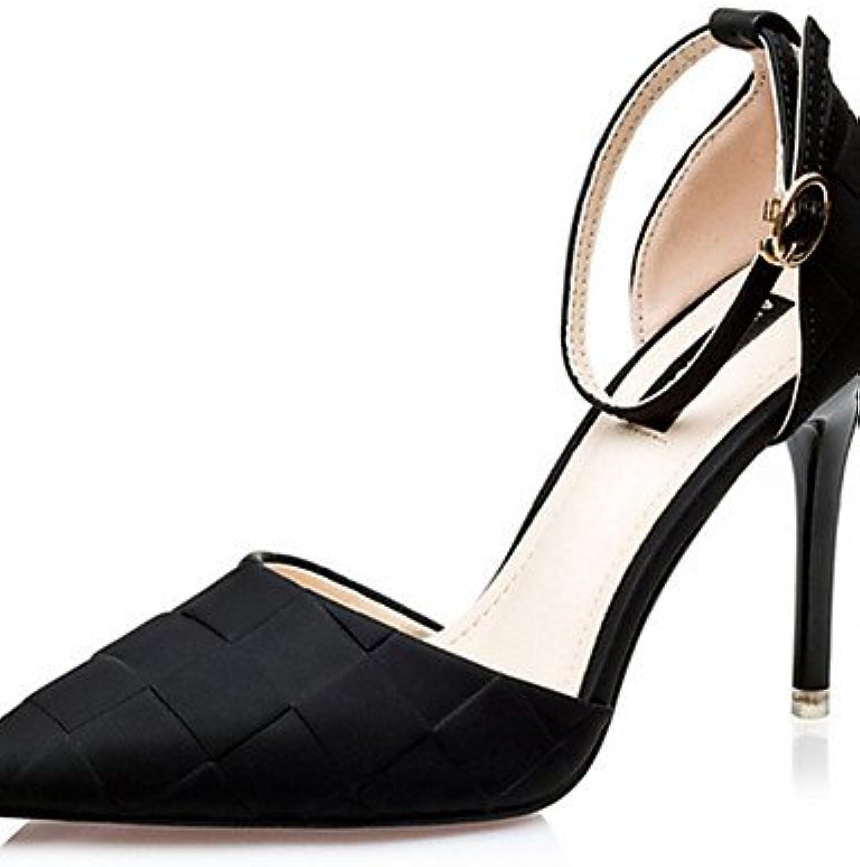 ZQ Zapatos de mujer-Tac¨®n Stiletto-Tacones-Tacones-Casual-Seda-Negro / Morado / Plata / Fucsia , purple-us8 /...