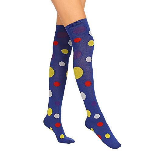 Amphia - Damen farbige gepunktete Kniestrümpfe,Damen sexy Oberschenkel hoch über dem Knie Socken farbige Punkte lange Socken (Knie-hohe Socken Mit Griffen)