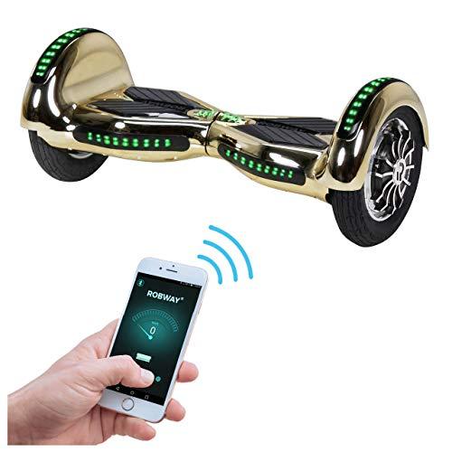 Robway W3 Hoverboard - Das Original - Samsung Marken Akku - Self Balance - 21 Farben - Bluetooth - 2 x 400 Watt Motoren – App – LED (Gold Chrom)