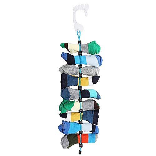 WSGQLT Socken-Organizer, mit Clips zu befestigen, kein Binden, keine Wäschesäcke vonnöten, waschmaschinengeeignet, zum Trocknen und Aufbewahren, nie wieder einzelne Socken
