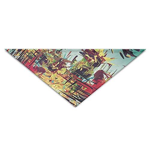 Gxdchfj Pet Triangle Bandana Abstract Multicolored Line Art Washable Dog Puppy Scarf Bib Babys Neckerchief Accessories -