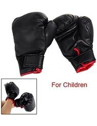 TOOGOO(R) Une paire de gants de boxe pour enfants Faux cuir Noir En eponge