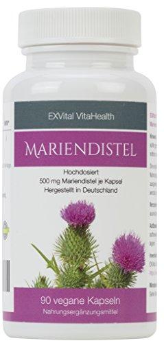 Mariendistel - EXVital VitaHealth - Mariendistel Extrakt mit 80% Silymarin Anteil, hoch konzentriert, 90 vegane Kapseln in deutscher Premiumqualiät, kein Magnesiumstearat und 100% vegan, 1er Pack (1x54g)