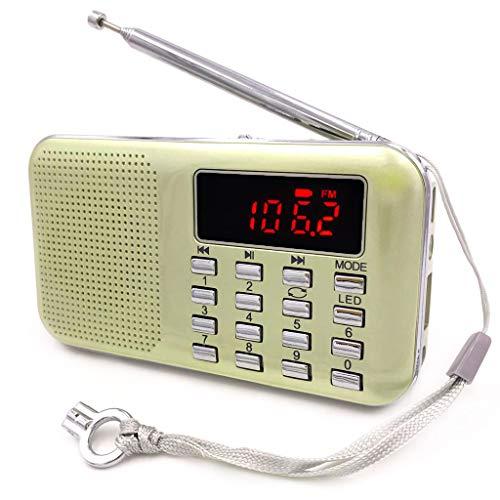 iMinker tragbare Mini-Digital-AM / FM-Radio-Mittel-Lautsprecher-MP3-Player-Unterstützungs-TF-Karte / USB-Anschluss mit LED-Screen-Display, Notfall-Taschenlampe, 3,5-mm-Kopfhörerbuchse (Gold) (Radio Pocket Fm Am Lautsprecher Mit)