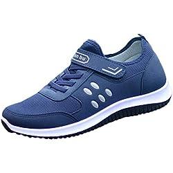 LuckyGirls Bambas Deportivas de Hombre Splicing Lunares Zapatillas Zapatos de Correr Casual Calzado con Velcro (EU41,Azul)