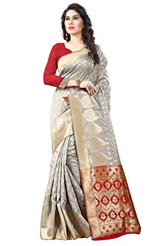 SeeMore Women's Tassar Silk Saree with Blouse Piece, Free Size (Sathiya Banarasi 6 Grey Red)