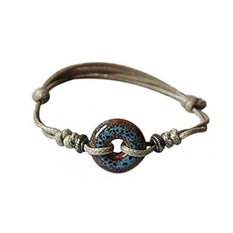 temps Usurier Art Design original Donuts-shape en céramique réglable faite à la main et bracelet