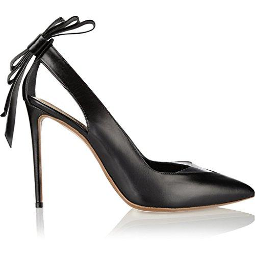 SHOFOO - Femmes - Stiletto - Noir brillant - Cuir synthétique - Noeud arrière - Talon aiguille - Bout pointu fermé Noir