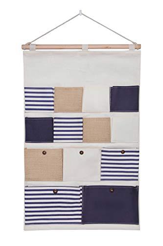 bellendo® Hängeaufbewahrung Kinderzimmer, Bad, Tür, Wand Utensilo Baby - Hängeorganizer Stoff Wandorganizer Aufbewahrung Tasche - 13 Fächer, blau weiß