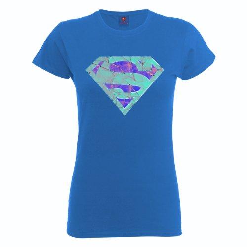 DC Universe Damen T-Shirt Dc Comics Official Superman Glass Logo Womens T-shirt Blau - Königsblau