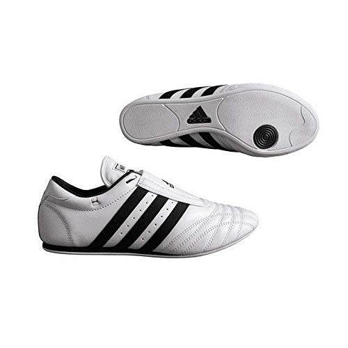adidas Indoor Training Leder Sports SM II Schuhe–Weiß, Kinder Damen Mädchen Jungen Herren, Weiß mit schwarzen Streifen