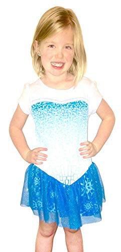 Frozen I Am Elsa Mädchens Short Sleeve Glitter Blau Kostüm Dress (Toddler 6X) (Kostüm Elsa Toddler Frozen)
